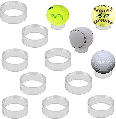 Anillo de soporte para pedestal de acrílico transparente para pelotas de golf, béisbol, sóftbol, tenis, esferas, pelotas de fútbol, softball, etc. Se mantiene en la estantería. – (Paquete de 10)