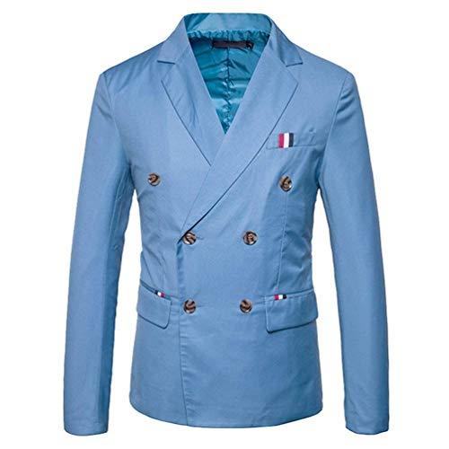 Herren Doppelreiher Sakko Blazer Anzug Jacke Smart Smoking Slim Festlich Fit Herrenmode Mantel Hochzeit Elegant Outerwear Anzugjacken Herbst (Color : Hellblau, Size : S)