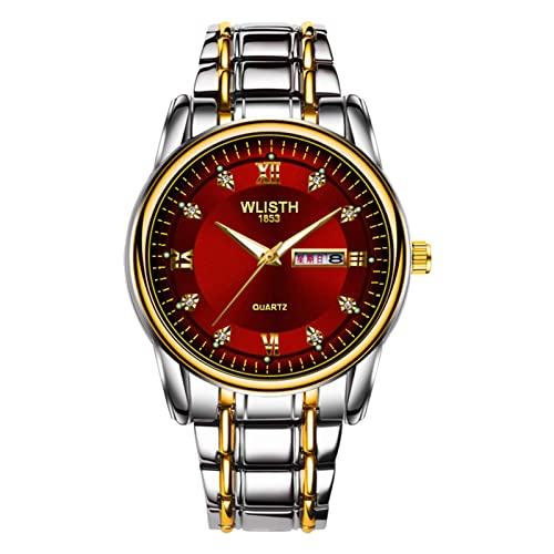 3 estilos de los hombres azul rojo amarillo moda casual reloj movimiento de cuarzo chico retro reloj doble calendario luminoso juventud 30m impermeable oro llanta correa joyería rojo