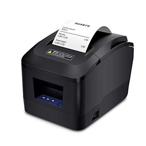 MUNBYN Thermal Printer USB 3'1/8 80mm Receipt Printer, Pos Printer with Auto Cutter ESC/POS Command Support Windows Pos System