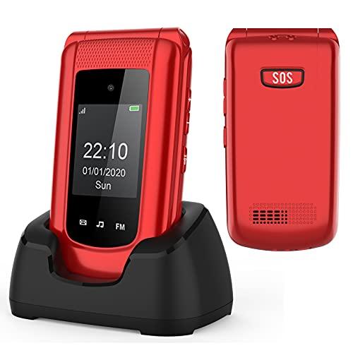 Uleway GSM - Teléfono móvil para personas mayores, teléfono móvil de concha con botones grandes y volumen alto, función SOS, base de carga doble pantalla de visualización (1,77 y 2,4 pulgadas) - Rojo