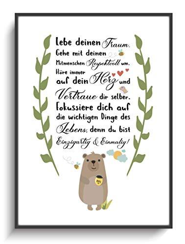 Kunstdruck Kinderzimmer Bär Spruch ohne Rahmen DIN A4 Gastgeschenk Einschulung Geburt Taufe Junge Mädchen Dekoration Wohnung