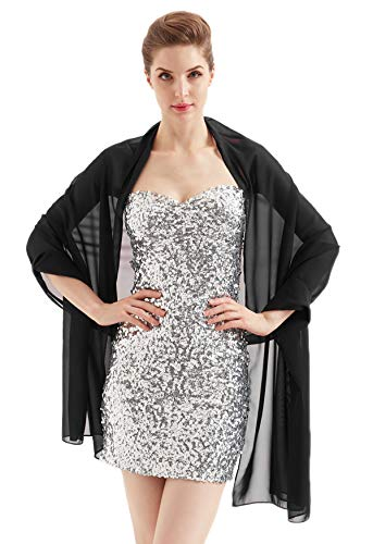 Alivila.Y Fashion Organza Soft Long Wrap Scarf Shawl-Black Chiffon-1669