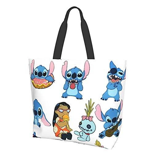 Lilo Bolsa de conveniencia con un solo hombro de dibujos animados, casual y versátil, ideal para ir de compras, trabajo y escuela a diario