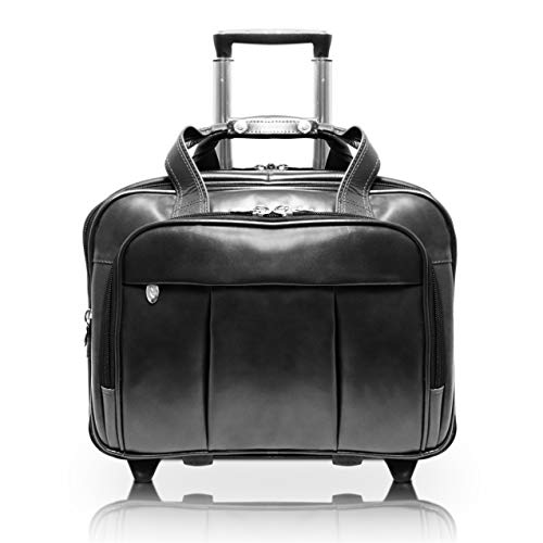 McKleinUSA Damen 80715 R Series Leather Detachable-Wheeled Laptop Case (Black)