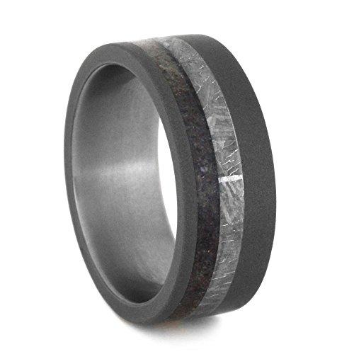 Dinosaur Bone, Gibeon Meteorite 8mm Comfort-Fit Sandblasted Titanium Ring, Size 5.75