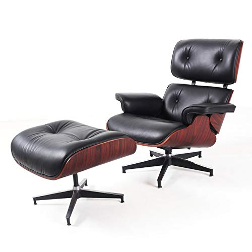 LYQZ Large Size Stable Modern Classic Chair Chaise Lounge Furniture Lounge Chair Natural Leather Swivel Lounge Chair (Color : Red Rose)