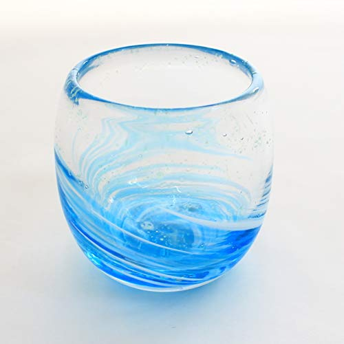 冷茶グラス コップ カップ 琉球 ガラス グラス ほたる石 蛍入り (LOVE&STARタルグラス) アクアスカイ(水)