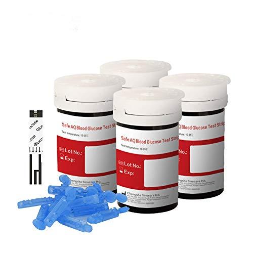 sinocare bloedglucosemeter/controletest/vervangende teststrips/diabetesstrips/codefree bloedglucoseteststrips met pijnloze lancetten - in mg/dL (Safe AQ Bloedglucoseteststrip100)