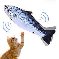 Mersuii 猫おもちゃ 魚 動く 電動魚 猫用 ぬいぐるみ 動く 魚おもちゃ USB充電式 フィッシュキャットトイ ぴちぴちとはねる 運動不足 ストレス解消 爪磨き 噛むおもちゃ (サケ)