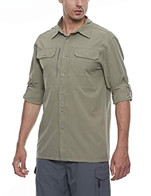 Little Donkey Andy Men's Stretch Quick Dry Water Resistant Outdoor Shirts UPF50+ for Hiking, Travel, Camping Sage Size L