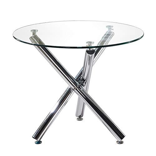 Mesa Redonda de Comedor, Cristal Moderno de la Tabla Muebles de Comedor Cocina Tabla Cofre Mesa con Patas de Metal de 90 cm (Redondo Claro)