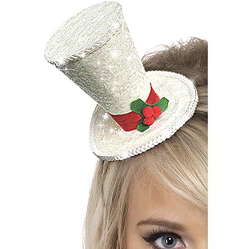 Smiffys Damen Weiße Weihnacht Glitzer Hut auf Haarreif, One Size, Glitzer, 22046