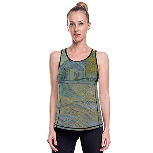 FANTAZIO Van Gogh Peinture à l'huile Vêtements de yoga Haut en maille Exercice Gym Chemises Course Débardeur - - M
