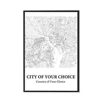 Decorative Wall Map from ABGPrint – White Background Black Lines City Map Print - Multiple City Options With Custom 'Choose Your Own City' Option - Print Only Without Frame - A Custom City 12x18