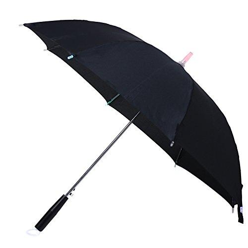 CEXIN Lightsaber Stick Umbrella 7 Colour changing LED Light Golf Umbrellas Windproof Waterproof Travel Umbrella LED Flashlight Daily Accessory (black)