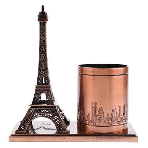 IMAX Red Retro Metal Eiffel Tower Model Statue Pencil Pen Case Holder Home Decor Artwork Sculpture Christmas Gifts for Student Child