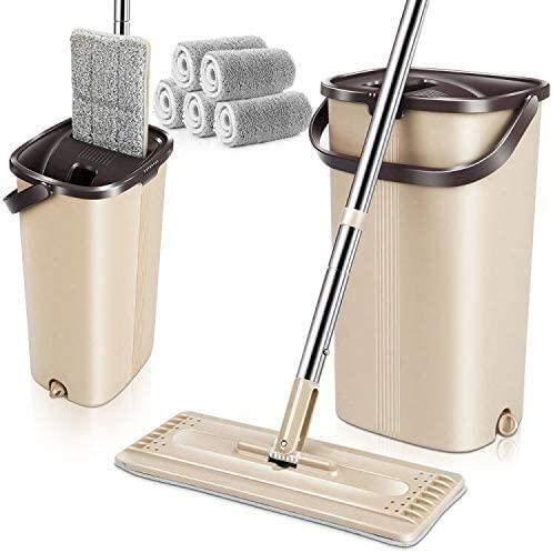 MASTERTOP Juego de Fregona Plana y Cubeta con 4 Almohadillas del Trapeador de Microfibra Autolimpieza para Limpieza de Suelos Secos y Húmedos