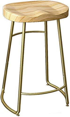 CHAIR Chaise de bar, café, chaise de restaurant, tabourets de bar de cuisine rustique vintage avec cadre en métal doré et siège en bois massif Art industriel en fer et bois de pin 45Cm 65Cm 75Cm haut