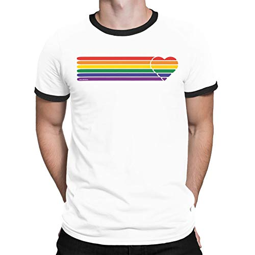 FreeWillShirts Gay Pride Organic Cotton T-Shirt - Retro Heart Strip - Unisex Mens Ladies LGBT