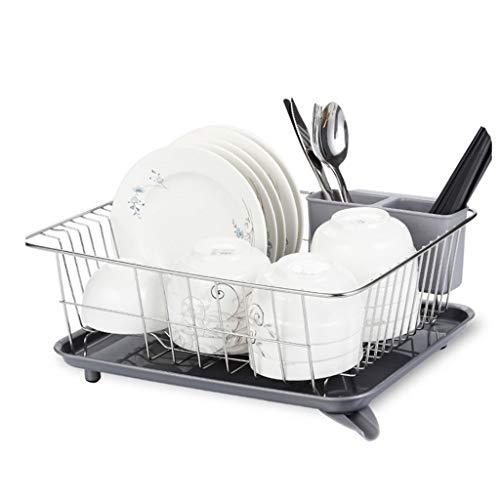 Égouttoir à vaisselle Acier inoxydable Rack égouttoir de cuisine en acier inoxydable 304, étagère de rangement, grille de séchage de la vaisselle, grille de cuisine avec cage à baguettes et plateau