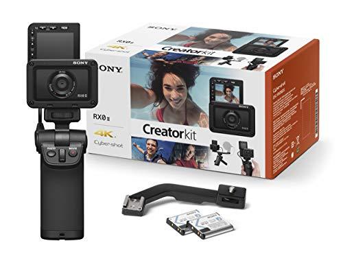 Sony RX0 II Creator Kit | Robuste, ultra-kompakte Kamera mit Aufnahmegriff VCT-SGR1 (1.0-Typ-Sensor, 24mm F4,0 Zeiss-Objektiv, wasserfest, 4K-Filmaufnahmen und neigbares Display für Vlogging)