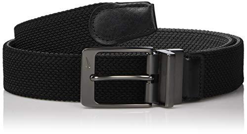 Nike Men's Reversible G-Flex Woven Stretch Golf Belt, Black/Dark Grey, Small Black Leather Woven Belt