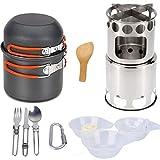 Rcsinway Suministros de Cocina de Camping al Aire Libre Que va de excursión pote Set Set Estufa de leña con vajilla Utensilios de Cocina Estufa de Equipo al Aire Libre (Color : Orange Handle)