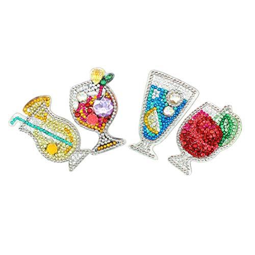 WINOMO Bijoux DIY 4 pièces Bricolage Diamant Image Porte- clés Manuel Bricolage Diamant Peinture Pendentif Bricolage jus série Porte- clés Pendentif pour (coloré)