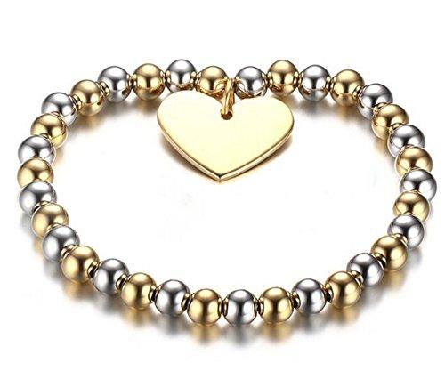 B.Z La Vie Bransoletki serce 20,5 cm pozłacane biżuteria perła 6 mm stal szlachetna prezent