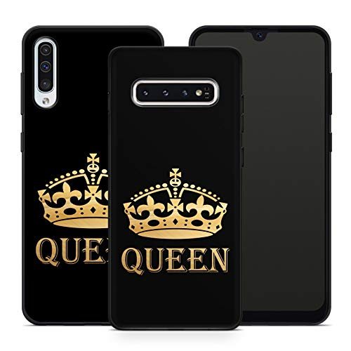Handyhülle King und Queen für Samsung Silikon MMM Berlin Hülle Marmor Matt Stylisch Trend Crown, Hüllendesign:Design 4 | Silikon Schwarz, Kompatibel mit Handy:Samsung Galaxy A71