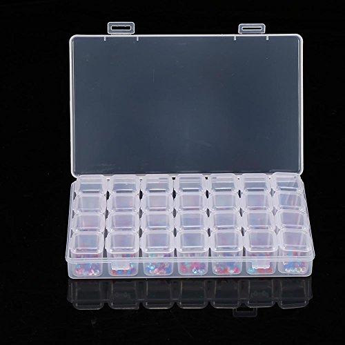 28 emplacements vide clair nail art décoration strass gemme perle boîte de rangement de conteneur nail art maquillage accessoires