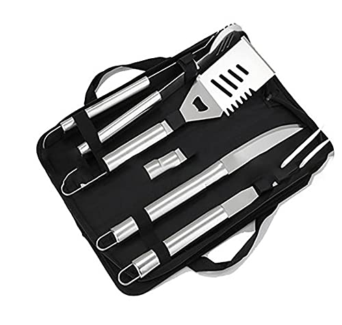 MIJPOJAN Stainless Steel Barbecue Tools, BBQ Tool Set Kit for Men Women - 4Pcs Outdoor Barbecue Utensils with Carrying Case for Camping Barbecue