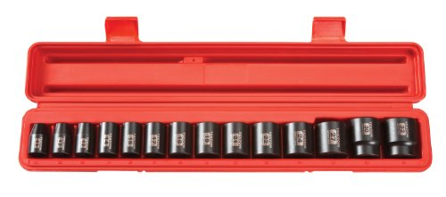 TEKTON 1/2-Inch Drive Shallow Impact Socket Set, Metric, Cr-V,...