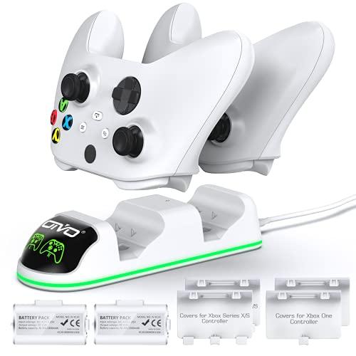 OIVO Ricarica Controller con Batteria Ricaricabili per Xbox One/Xbox Series X/Xbox Series S, Caricatore Controller con 2 x 1300mAh Batterie Ricaricabili, bianco (One & Series)