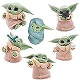 Hilloly 6pcs Baby Yoda Toy Adornos de Star Wars Decoración de Pasteles Mini Yoda Mandalorian Collect...