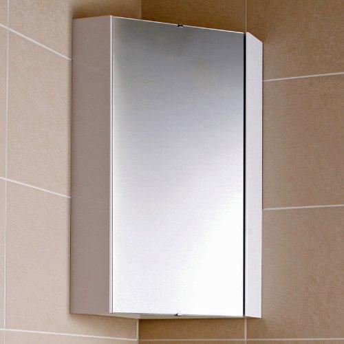 Hudson Reed Eckspiegelschrank - Spiegelschrank zur Eckmontage mit einem internen Regalboden in Weiß