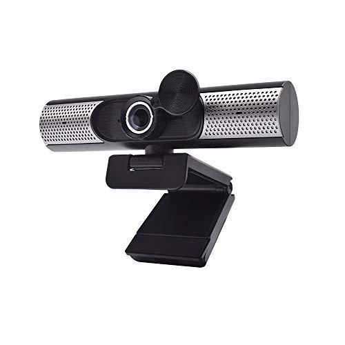 Fesjoy Cámara web HD 1080P Full HD 1080p Enfoque manual Micrófono incorporado, altavoces incorporados, compatible con transmisión en directo de clase online