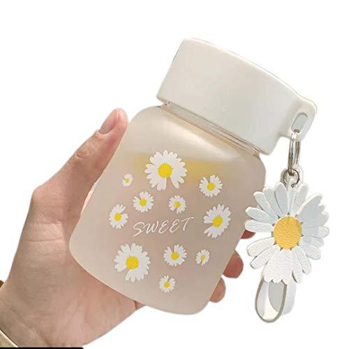 Glas Wasserflasche 300ml Borosilikat Glastrinkflasche mit Hülle Trinkflasche für Kinder Schülerin Mädchen BPA Frei für Schule Büro Reise