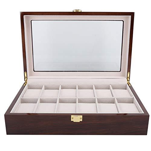Asixxsix Uhr Aufbewahrungsbox, Uhr Display Box, 12 Gitter Schmucketui für Display Armbanduhr Uhren Organizer
