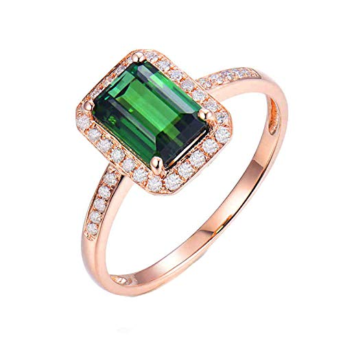 Aartoil 18K Rose Gold Wedding Bands for Women 4 Claws Rectangle Tourmaline 2.21ct with 0.2ct Diamond Promise Engagement Ring Christmas Valentine's Gift (Size S 1/2)