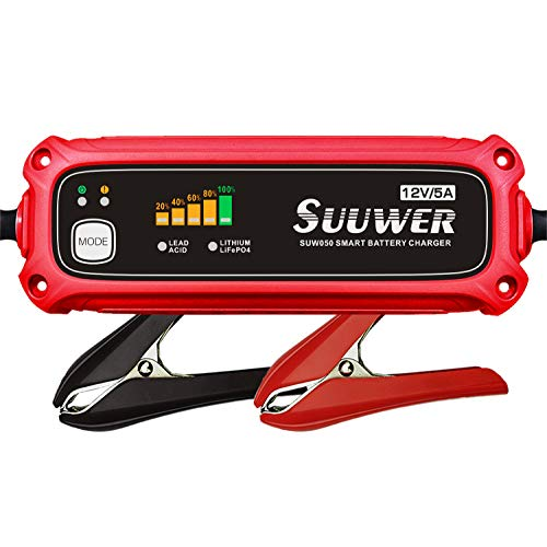 Battery Charger, Suuwer 12V 5A Fully Automatic 7-Stage Smart Battery Charger/Maintainer. for Standard AGM Deep-Cycle 12 Volt Lead-Acid or Lithium(LiFePO4)