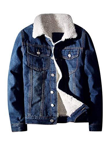 Springrain Men's Winter Sherpa Lined Denim Jacket Windbreaker Trucker Jacket (Dark Blue, X-Large)