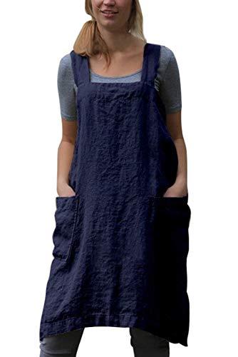 MAGIMODAC Womens Katoen Linnen Pinafore Jurk Cross Terug Schort Japanse Huiswerk Wrap Jurken UK 6 8 10 12 14 16 18 20