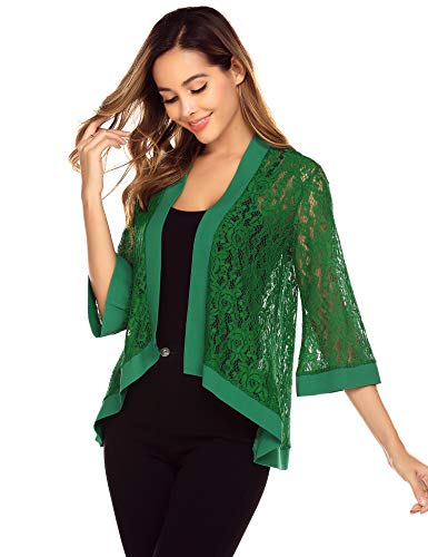 Zeagoo Women's Casual Lace Crochet Cardigan 3 4 Sleeve Sheer Cover Up Jacket Plus Size Dark Green