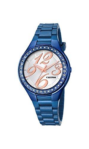 Calypso–Reloj de Cuarzo para Mujer con Plata Esfera analógica Pantalla y Pulsera de plástico Azul K5637/9
