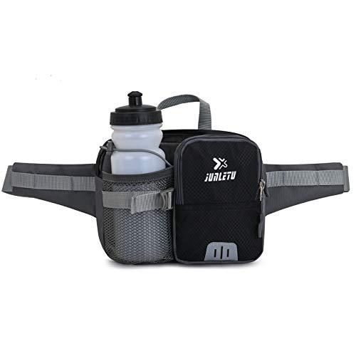 Bolsa de cintura con botella de agua, compatible con iPad Mini Fanny Pack Bolsa de cintura para deportes al aire libre, riñonera de gran capacidad para correr, ciclismo, senderismo