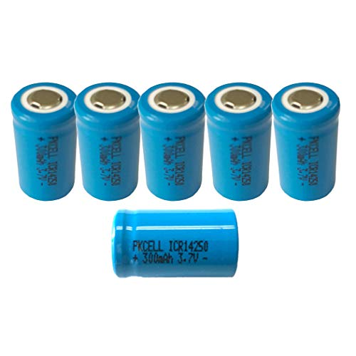 1/2AA Size ICR14250 3.7V 300mAh Li-ion Lithium Rechargeable Batteries 6Pcs