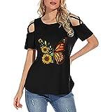 Damen Oberteile Elegant Sexy Schulterfrei T-Shirts Lässige Basic Shirts Rundhals Tee Tops Loose...