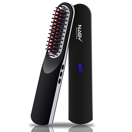 Beard Straightener Comb for Men: Hot Air Brush 2-in-1 One Step Hair Dryer Beard Straightening Comb for Men Ceramic Heating + LCD Display + Adjustable Temperatures Portable Straight Heated Comb